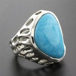 Genuine turquoise silver hand made ring